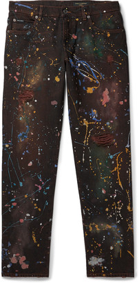 Dolce & Gabbana Paint-Splattered Distressed Denim Jeans