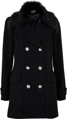 Wallis Black Faux Fur Collar Military Coat