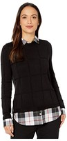 Foxcroft Petite Shoshana Sinclair Tartan Twofer Sweater (Black) Women's Clothing