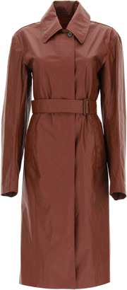 Lemaire LONG TRENCH RAINCOAT 38 Brown Cotton