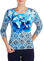 Allison Daley Filigree Print Crew-Neck 3/4 Sleeve Knit Top