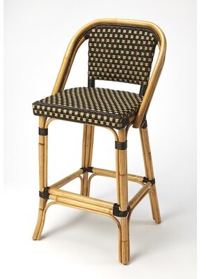 "Butler 28"" Bar Stool Color: Chocolate Rattan"
