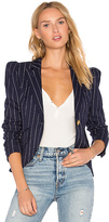 Smythe Pouf Sleeve One Button Blazer in Navy