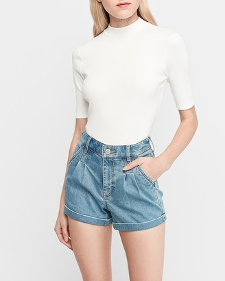 Express High Waisted Pleated Double Roll Jean Shorts