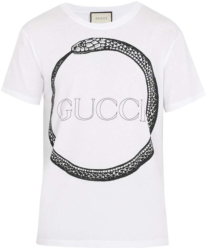 Gucci Snake and logo-print cotton T-shirt