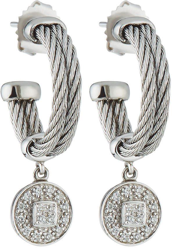 Alor Double-Cable Hoop Earrings w/ Diamond Drop