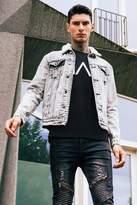 boohoo Charcoal Acid Wash Borg Collar Denim Jacket charcoal