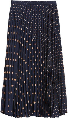 Banana Republic Polka Dot Pleated Midi Skirt