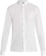 Balmain Logo-embroidered cotton-poplin shirt