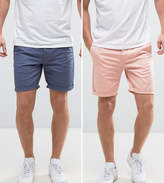 Asos 2 Pack Slim Chino Shorts In Blue & Pink Save