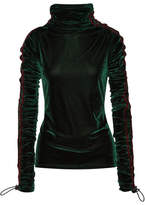Y/Project Striped Velvet Turtleneck Sweater - Emerald