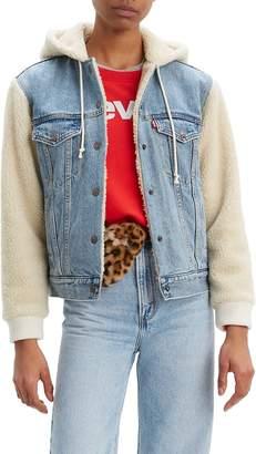 Levi's Ex-Boyfriend Faux Shearling & Denim Hooded Trucker Jacket