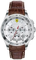 Ferrari 0830044 Men's Scuderia Chronograph Dial Brown Leather Strap Watch