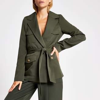 River Island Womens Khaki belted utility blazer