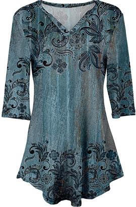 Lily Women's Tunics BLU - Blue & Black Scroll Three-Quarter Sleeve V-Neck Tunic - Women & Plus