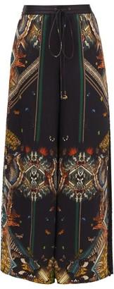 Camilla Mother Nature-print Wide-leg Silk Trousers - Womens - Black Print