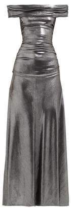 Maria Lucia Hohan Reem Metallic Jersey Off-the-shoulder Maxi Dress - Womens - Silver