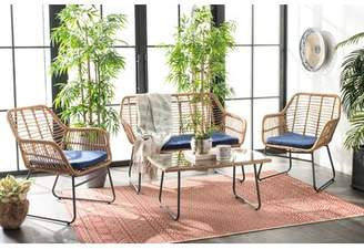 Bungalow Rose Padron 4 Piece Rattan Multiple Chairs Seating Group with Cushions Cushion Color: Navy