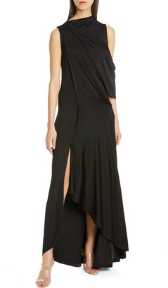Monse Cold Shoulder Asymmetrical Jersey Gown