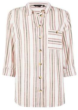 Dorothy Perkins Womens Sage Striped Cotton Shirt