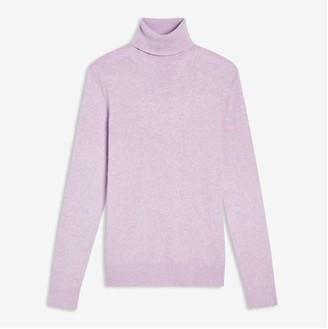 Joe Fresh Women's Cashmere-Blend Turtleneck Sweater, Light Purple Mix (Size XL)
