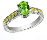 Gem Stone King 1.50 Ct Oval Checkerboard Green Peridot Yellow Sapphire 14K White Gold Ring