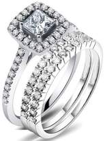 JeenJewels 2.42 Carat Princess cut Diamond Trio Bridal Set on Closeout Sale on 14k White Gold