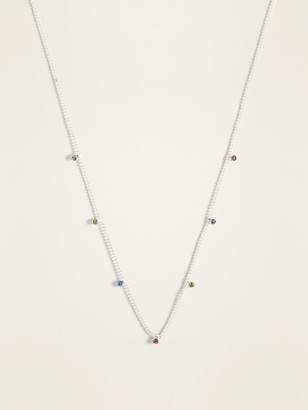 Old Navy Delicate Silver-Toned Rhinestone Station Necklace for Women