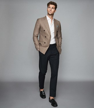 Reiss Sword - Linen Wool Blend Double Breasted Blazer in Brown