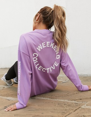 ASOS DESIGN Weekend Collective oversized longsleeve t-shirt with back logo in lilac