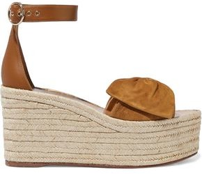 Valentino Bow-embellished Leather And Suede Wedge Espadrille Sandals