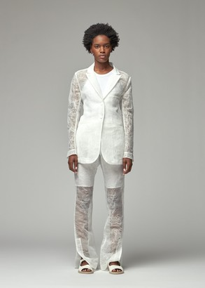 Cecilie Bahnsen Women's Kapri Blazer Jacket With Pockets in White Size 10 100% Polyester