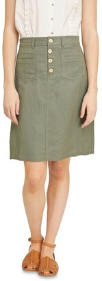 Oxford Tito Button Front Skirt Lt