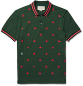 Gucci Contrast-Tipped Embroidered Stretch-Cotton Piqué Polo Shirt