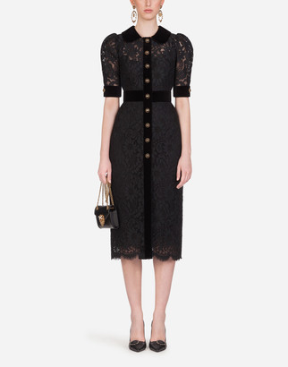 Dolce & Gabbana Lace Midi Dress With Bejeweled Buttons