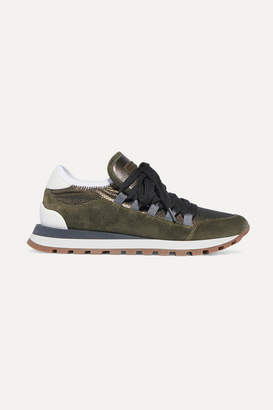 Brunello Cucinelli Metallic Mesh, Leather And Suede Sneakers - Forest green
