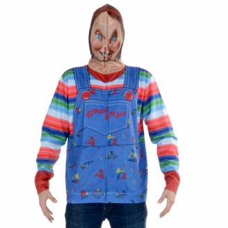 Faux Real Men's Chucky Full Face Zip Up Mask Hoodie