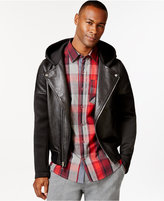 Sean John Men's Hooded Neoprene & Leather Motorcycle Jacket