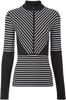 adidas by Stella McCartney Black & White Stripe Half Zip Top