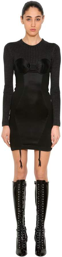 Moschino Rib Knit & Stretch Satin Bustier Dress