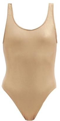 Sara Cristina Gala Metallic Scoop-back Swimsuit - Gold