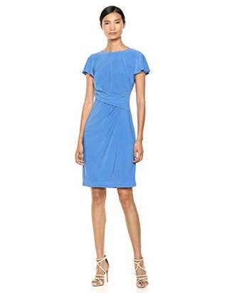 Chaps Women's Cap Sleeve Pleated Matte Jersey Dress