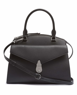 Calvin Klein Women's Lock Daytona Leather Medium Statement Satchel Bag