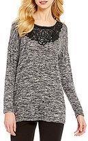 Bobeau Floral Faux Leather Applique Long Sleeves Knit Tunic