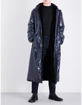 Dries Van Noten Navy Quilted Ruffo Faux-fur Lined Shell Coat