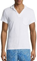 Orlebar Brown Terry Towel Polo with Pocket, White
