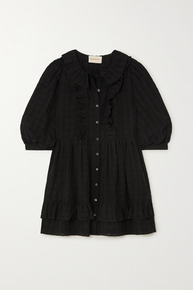 &Daughter Cecile Ruffled Cotton-seersucker Mini Shirt Dress - Black