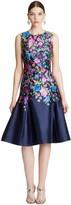 Oscar de la Renta Chine Garden Floral Mikado Flared Dress