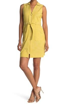 Sharagano Sleeveless Zip Front Shirt Dress