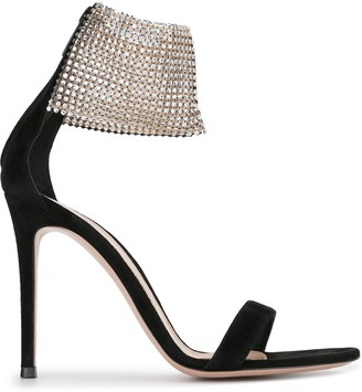 Gianvito Rossi Studded Ankle Strap Stiletto Sandals